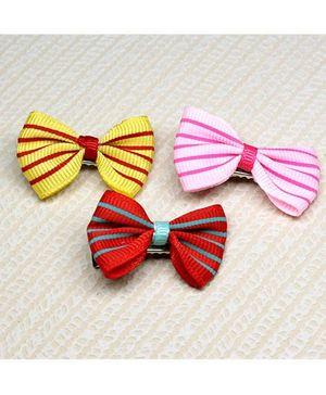 Asthetika Set Of 3 Mini Bow Hair Clips - Multicolour
