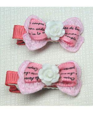 Asthetika Set Of 2 Mini Bow Hair Clips - Pink