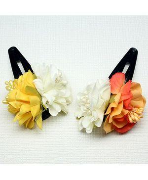 Asthetika Set Of 2 Floral Hair Clips - Yellow & Orange