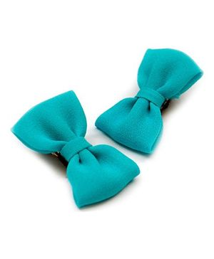 Pigtails And Ponys Bow Hair Clips - Blue