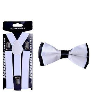 Tiekart Monochrome Bow Tie & Suspender Combo - White