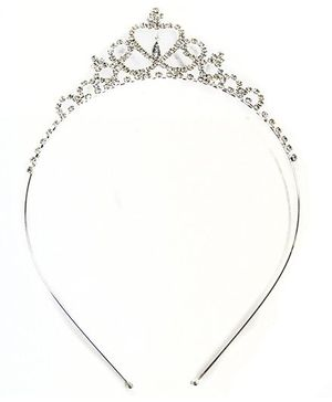 ATUN Diamante Heart Tiara Hair Band - Silver