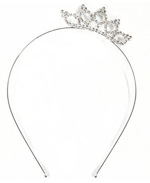 ATUN Diamante Lotus Crown Tiara Hair Band - Silver