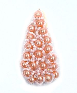 ATUN Pearl & Beads Studded Hair Clip - Peach
