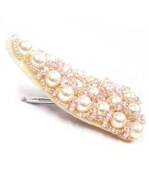 ATUN Pearl & Beads Studded Hair Clip - White