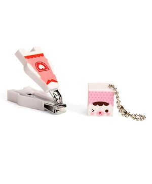 Adore Baby Cartoon Nail Clipper With Cap - Pink And White
