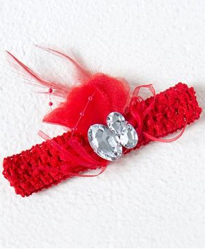 Treasure Trove Diamond Studded Feather Headband - Red
