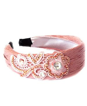 Reyas Accessories Lace & Beads Hair Band - Pink & Brown