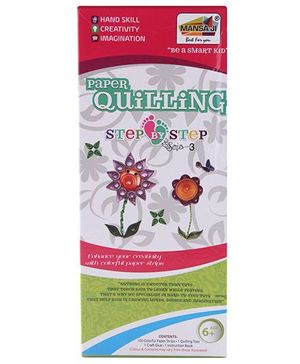 Mansaji Paper Quilling Step By Step Flowers - Multi Color