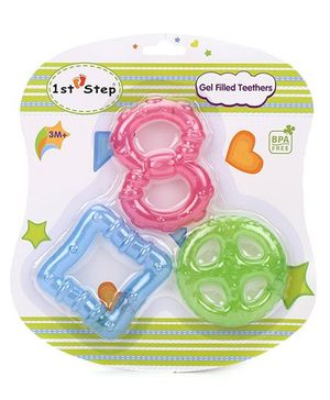 1st Step Gel Filled Rattle Theether Pack of 3 - Pink Blue Green