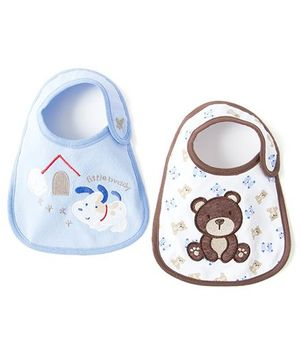 Little Hip Boutique Little Buddy Bib Set of 2 - Blue & White