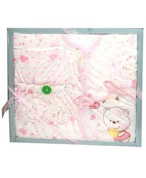 Kiwi Baby Gift Set Hearts Print White and Pink - 9 Pieces