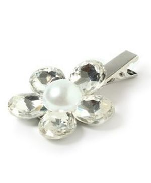 Sugarcart Diamond Flower With Pearl On Aligator Clip - Silver