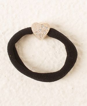Bunchi Heart Crystal Rubber Band - Black