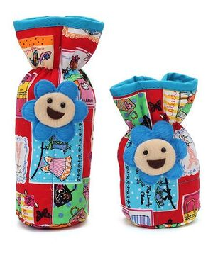 1st Step Bottle Cover Pack of 2 Foral Applique - Red And Blue