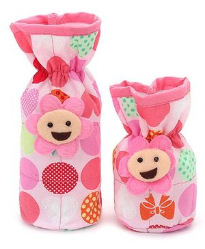 1st Step Bottle Cover Pack of 2 Foral Applique - Pink