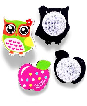 Akinos Kids Set Of 2 Owl & Apple Shaped Velcro Clips - Multicolour