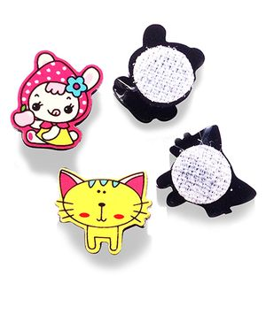 Akinos Kids Set Of 2 Cat & Girl Shaped Velcro Clips - Multicolour