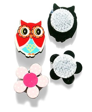 Akinos Kids Set Of 2 Owl & Flower Shaped Velcro Clips - Multicolour