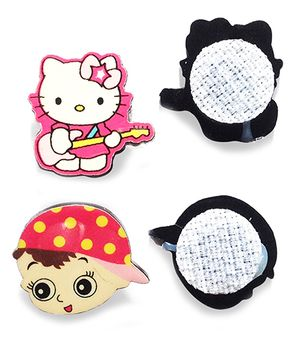 Akinos Kids Set Of 2 Kitty & Boy Shaped Velcro Clips - Multicolour