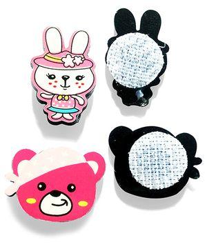 Akinos Kids Mini Set Of 2 Velcro Clips - White & Pink