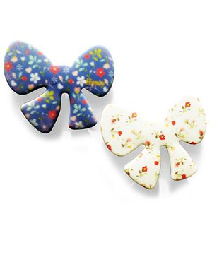 Akinos Kids 2 Bow Shaped Velcro Clips - Blue & White