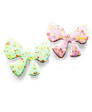 Akinos Kids 2 Bow Shaped Velcro Clips - Pink & Green