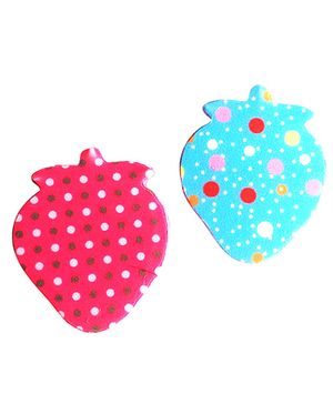 Akinos Kids Strawberry Mini Velcro Clips Set Of 2 - Pink & Blue