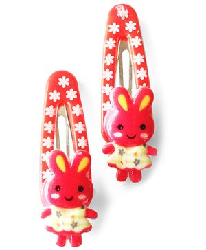 Akinos Kids Cute Bunny Baby Snap Clips - Red