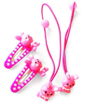 Akinos Kids Cute Bunny Snap Clips & Rubber Band - Pink
