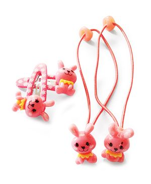 Akinos Kids Cute Bunny Snap Clips & Rubber Band - Peach