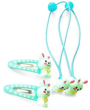 Akinos Kids Cute Bunny Snap Clips & Rubber Band - Blue