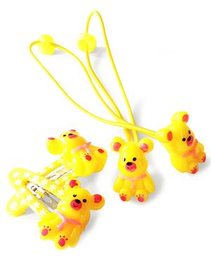 Akinos Kids Cute Teddy Snap Clips & Rubber Band - Yellow