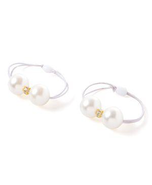 Akinos Kids Pearl Ponytail Holder - White