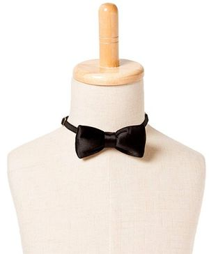 Brown Bows Satin Butterfly Bow Tie - Black