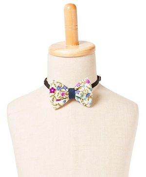 Brown Bows Polyester Butterfly Bow Tie Floral Print - Multi Color