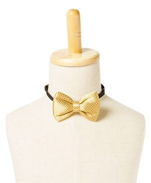 Brown Bows Polyester Butterfly Bow Tie - Golden