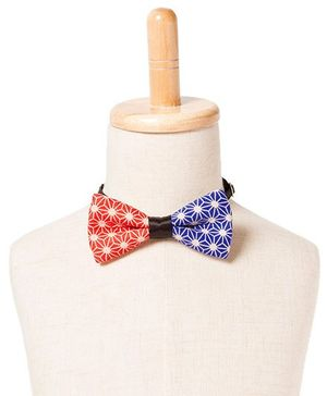 Brown Bows Printed Cotton Butterfly Bow Tie - Red and Blue