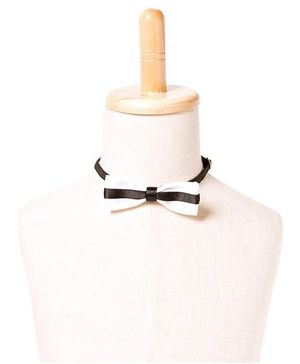 Brown Bows Printed Satin Slim Bow Tie - White and Black