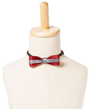 Brown Bows Satin Butterfly Bow Tie - Maroon and Grey