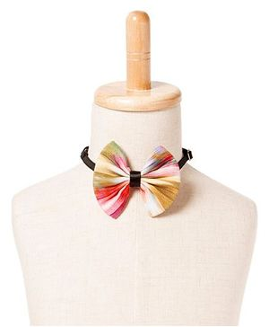 Brown Bows Printed Viscose Fan Tie - Multi Color