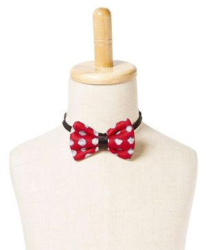 Brown Bows Cotton Butterfly Bow Tie Polka Dots Print - Red