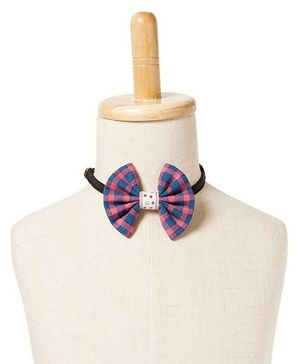 Brown Bows Viscose Fan Bow Tie Checks Print - Pink and Blue