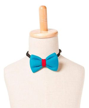 Brown Bows Cotton Butterfly Bow Tie - Blue