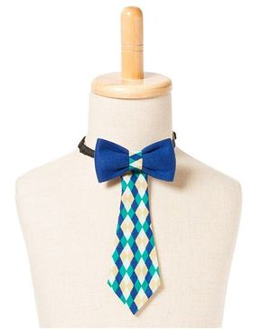Brown Bows Printed Cotton Tail Down Bow Tie - Blue