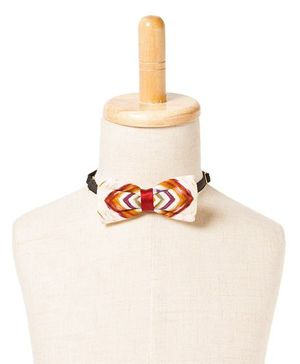 Brown Bows Viscose Butterfly Bow Tie Chevron Print - Multi Color