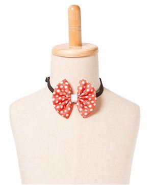 Brown Bows Polyester Fan Bow Tie Polka Dots Print - Orange White