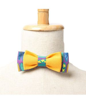Brown Bows Printed Cotton Batwing Bow Tie - Multi Color