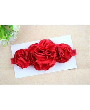 Bellazaara Triple Rose Peony Layered Burnt Edge Flower Headband - Red