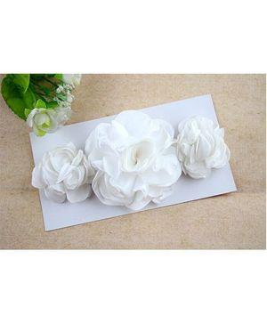 Bellazaara Triple Rose Peony Layered Burnt Edge Flower Headband - White